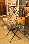 PAIR BRASS AND LEATHER JACQUES ADNET STYLE TABLES