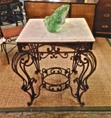 19TH C. FRENCH FORGED IRON & MARBLE BURCHER'S TABLE