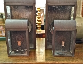 PR. VINTAGE COPPER WALL LANTERNS c. 1960