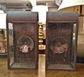 PR. LARGE VINTAGE COPPER WALL LANTERNS c. 1960
