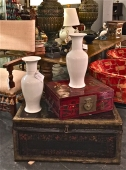 PAIR BLANC DE CHINE TALL VASES