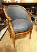 PAIR LOUIS XVI STYLE BARREL BACK CHAIRS