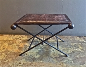 PAIR MID-CENTURY IRON & LEATHER FOLDING STOOLS