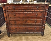 FRENCH FAUX BAMBOO CHEST OF DRAWERS c. 1880-90