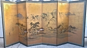 JAPANESE GOLD DUST 6-PANEL MEIJI PERIOD SCREEN