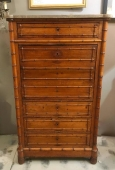 FRENCH FAUX BAMBOO SECRETARY/RECAMIER c.1880-90