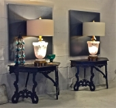 PAIR LARGE ALABASTER LAMPS BY MARBRO