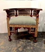 PAIR LATE 19TH/EARLY 20TH C. INLAID SYRIAN BARREL BACK CHAIRS