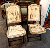 PAIR PEN WORK FOLDING CHAIRS