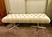 MID-CENTURY DOUBLE PEDESTAL LONG BENCH c.1955-60