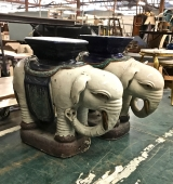 PAIR 1960s ASIAN ELEPHANT GARDEN SEATS