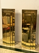 Pair Moderne Solid Brass Andirons