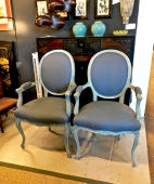 PAIR LATE 19TH C. LOUIS XV STYLE PAINTED OPEN ARM CHAIRS