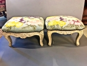 PAIR 18th/19TH c. LOUIS XV FRENCH FOOTSTOOLS