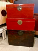 TWO EARLY 20TH C. CHINESE LACQUERED LEATHER TRUNKS