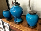 PAIR CHINESE BLUE MONOCHROME FLAMBE JARS