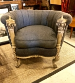 NEOCLASSICAL CARVED COLUMN BARREL BACK CHAIR
