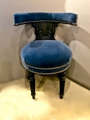 ANGLO/RAJ  COCKFIGHTING CHAIR IN HIGH-END MOHAIR VELVET c.1830-35