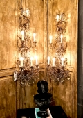 PAIR LARGE 20TH C. ITALIAN MACARONI BEAD 6-LIGHT WALL SCONCES