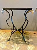 PAIR DECO FRENCH FORGED IRON AND BRASS SIDE TABLES