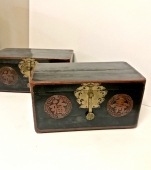 Pair of Large Asian Black Lacquered Boxes