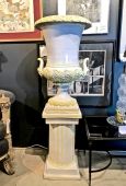 LARGE ITALIAN GLAZED TERRA COTTA URN ON PEDESTAL