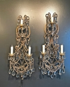 PAIR BEADED ITALIAN 33 INCH SCONCES