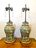PAIR ROSE CANTON LAMPS C. 1850