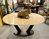 KARL SPRINGER LACQUER GOATSKIN DINING TABLE