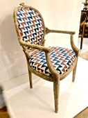 FAUX BOIS DINING CHAIRS W/ ARMS, C. 1980-1990, Set of 6
