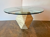 TRAVERTINE & GLASS TABLE