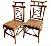 CHINOISERIE PAGODA-BACKED SIDE CHAIRS, SET of 4