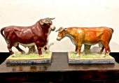 PAIR LARGE EARLY STAFFORDSHIRE BULL AND COW