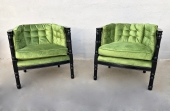 PAIR MID-CENTURY FAUX BAMBOO BARREL BACK CHAIRS