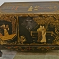 PR.CHINESE LACQUERED & PAINTED PIGSKIN TRUNKS W/STANDS
