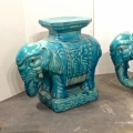 Pair of Turquoise Asian Elephant Garden Seats c. 1960