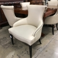 DECO/MODERNE LEATHER DINING CHAIRS, SET OF 8