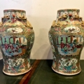 PAIR MID-19TH C. CHINESE ROSE CANTON VASES c. 1850-1870