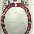 PAIR OVAL VENETIAN MIRRORS IN CRANBERRY MIRROR c.1925-30