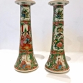 PAIR CHINESE ROSE CANTON CANDLESTICKS, LATE 19TH C.