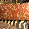 "PAIR ANTIQUE FORTUNY PILLOWS IN ""UCCELLI"" PATTERN C. 1920-1930"