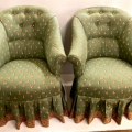 PAIR NAPOLEON III-STYLE BERGERES/CHAIRS