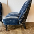 PAIR NAPOLEON III STYLE CHAIRS IN AFRICAN TEXTILES
