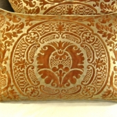 Pair Vintage Fortuny Pillows, Orsini Pattern