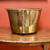 LARGE BRASS LOG BUCKET C. 1850-80