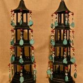 PAIR CHINOISERIE TOLE PAGODAS IN SEMI-PRECIOUS JEWELS