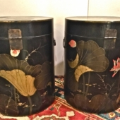 PAIR LARGE CHINESE LACQUERED PAINTED BOXES