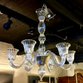 MURANO CLEAR GLASS CHANDELIER, 20th CENTURY