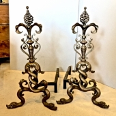 PAIR DOLPHIN-FORM BAROQUE STYLE STEEL ANDIRONS, C. 1950-60