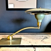 DAZOR GREEN FLYIING SAUCER DESK LAMP c.1960